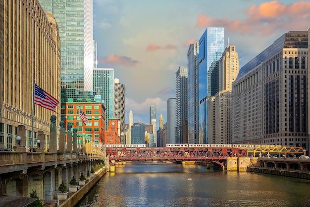 Downtown chicago skyline stadsgezicht in de verenigde staten van amerika