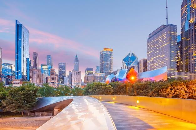 Downtown chicago skyline stadsgezicht in illinois, usa