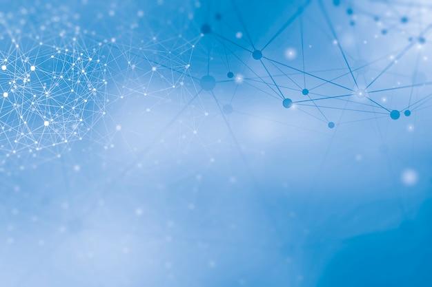 Draadloze netwerk verbinding stippen en lijnen pictogrammen op blauwe achtergrond.