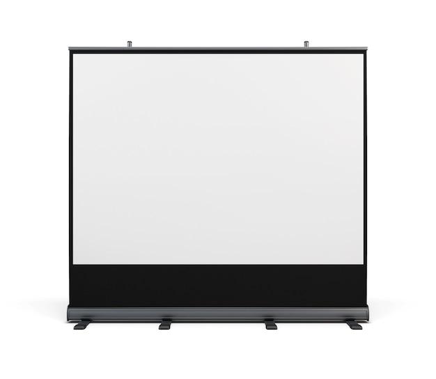 Draagbaar scherm voor projectie geïsoleerd op wit. 3d-weergave.