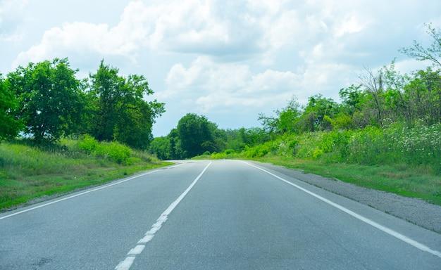 Draai de snelweg tussen de planten