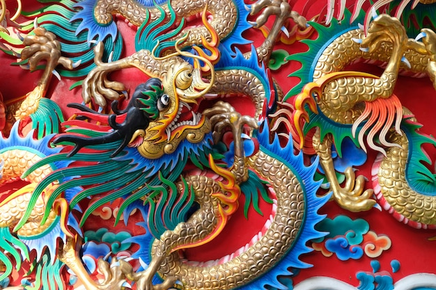 Draakstandbeeld in chinese tempel