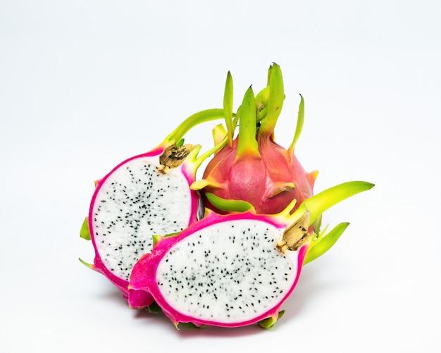 Dragon fruit pink peel green stalk slice