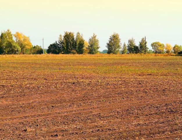 Dramatisch boerderijveld tijdens de achtergrond van het zonsonderganglandschap