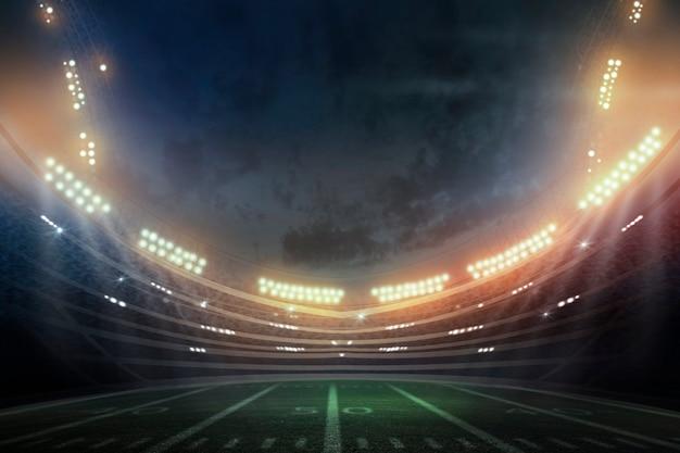 Dramatische professionele amerikaanse voetbalarena in 3d. 3d-weergave