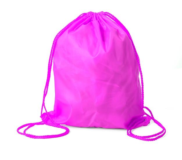 Drawstring pack sjabloon klassiek roze geïsoleerd op wit