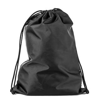 Drawstring pack sjabloon klassiek zwart op wit wordt geïsoleerd