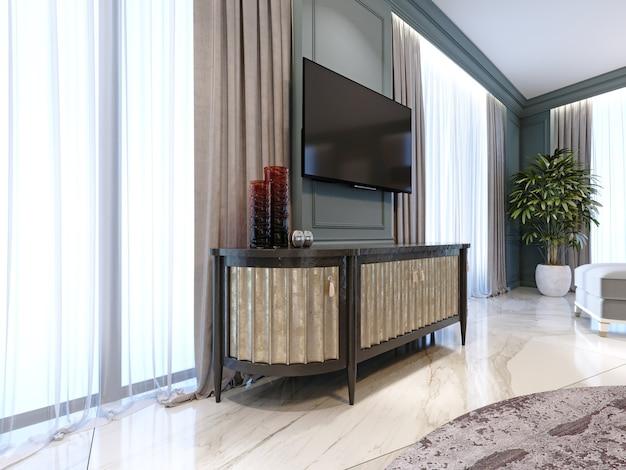 Dressoir met een tv tegen de muur in een moderne klassieke stijl. 3d-rendering