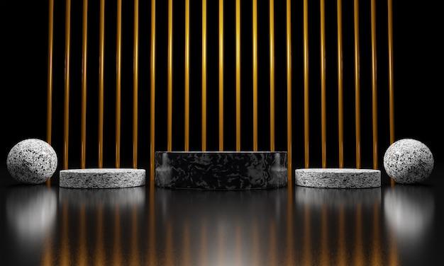 Drie abstract gouden geometrisch podium met vormen