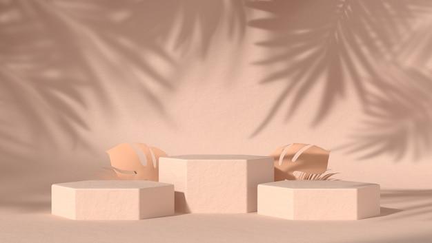 Drie abstract podium voor cosmetische productplaatsing op natuurlijke achtergrond