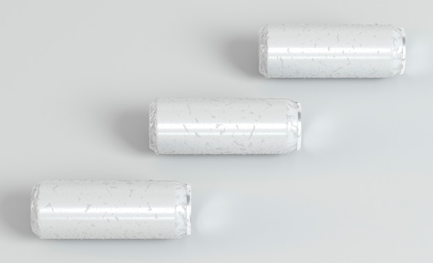 Drie abstracte presentatie van aluminium blikjes frisdrank