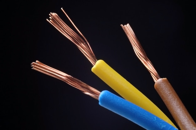 Drie-aderige gestripte elektrische kabel met bruine, blauwe en gele isolatie op zwart