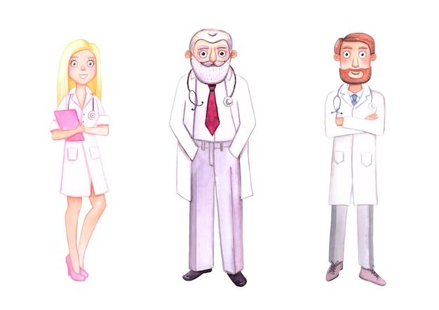Drie aquarel karakters. artsen in witte jassen met stethoscopen. geïsoleerd op witte achtergrond.