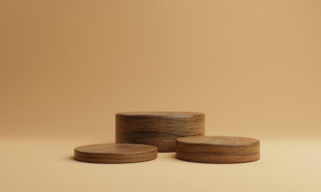 Drie bruin houten ronde cilinder product podium podium op oranje achtergrond