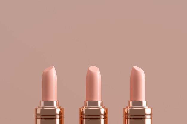 Drie champagne lippenstift, cosmetica voor branding van advertenties en productpresentatie.