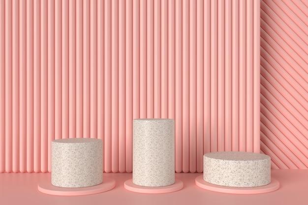 Drie cilinder stands met roze buis achtergrond, 3d illustratie
