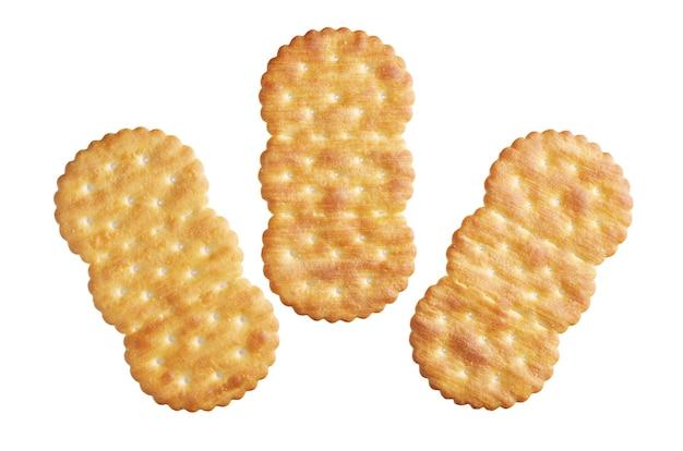 Drie crackers geïsoleerd op een witte achtergrond