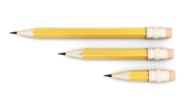 Drie eenvoudige potlood van verschillende grootte op een witte achtergrond. 3d-afbeelding.
