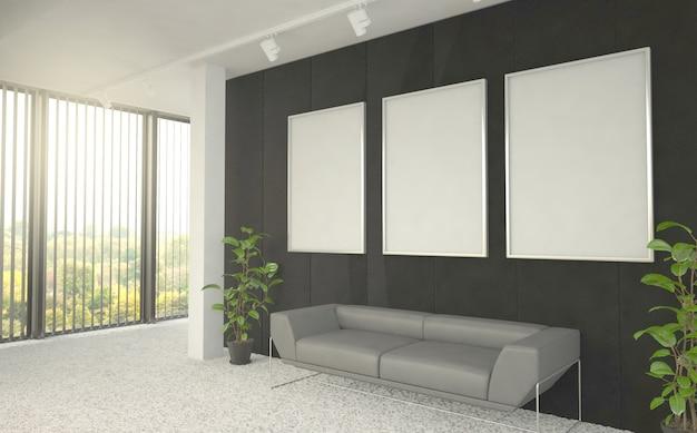 Drie frames posters op kantoor