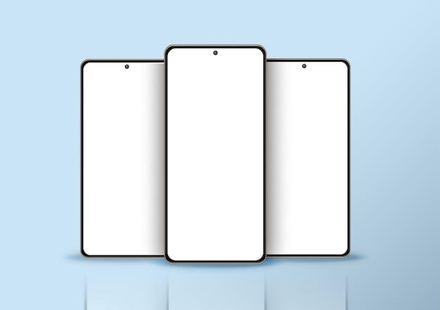 Drie geïsoleerde smartphone op blauwe achtergrond