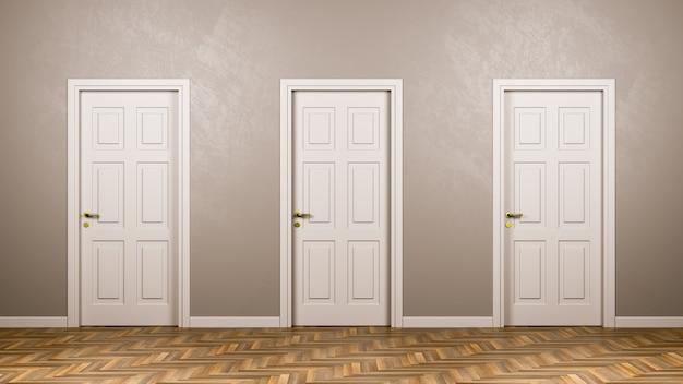 Drie gesloten witte deuren vooraan in de kamer