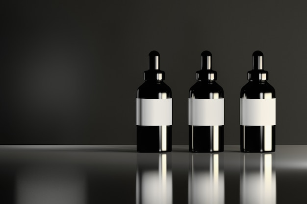 Drie glanzende zwarte kosmetische flessen met witte etiketten die zich op het weerspiegelende glanzende oppervlak bevinden. schoonheidsproducten pakketontwerp.
