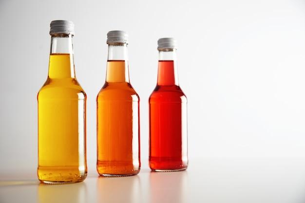 Drie glazen flessen met gekleurde dranken erin: rood