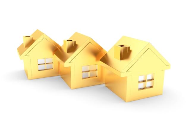 Drie gouden huizen op een wit