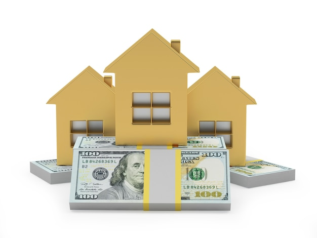Drie gouden huizenpictogrammen op 3d dollarbiljetten