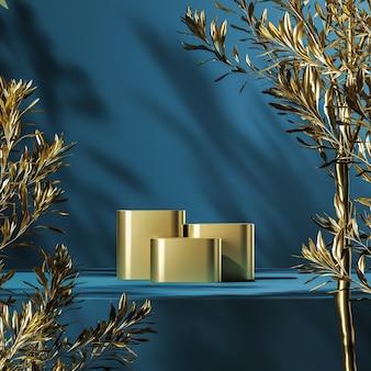 Drie gouden podia op blauw platform, gouden planten voorgrond en planten schaduw achtergrond, abstracte achtergrond voor productpresentatie of reclame. 3d-rendering