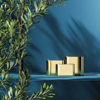 Drie gouden podia op blauw platform, groene planten voorgrond en planten schaduw achtergrond, abstracte achtergrond voor productpresentatie of reclame. 3d-rendering