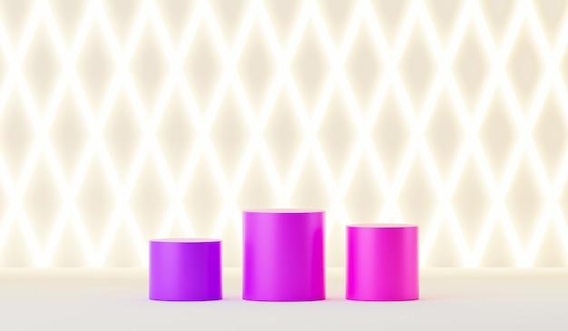 Drie gradiëntkleurenplatform op wit patroonverlichting achtergrondachtergrond voor presentatie