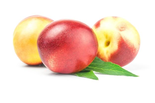 Drie grote verse rijpe geïsoleerde nectarines
