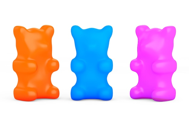 Drie gummy candy bears op een witte achtergrond