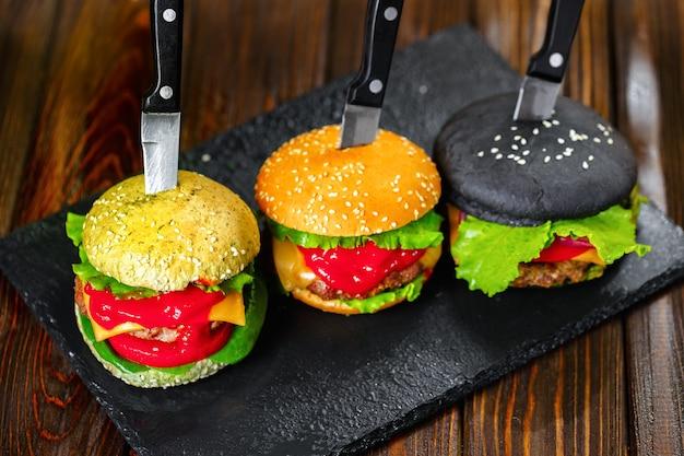 Drie heerlijke hamburgers