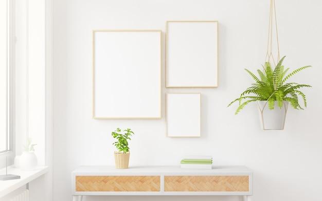 Drie houten frames collage mock up 3d-rendering