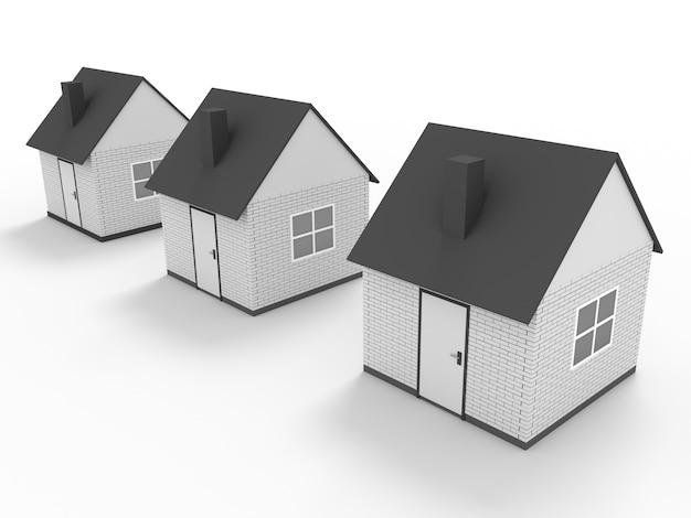 Drie huizen staan in serie geïsoleerd op wit
