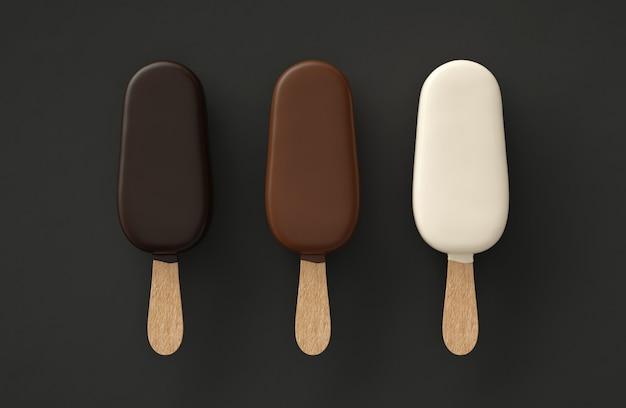Drie ijsjes drie chocolaatjes