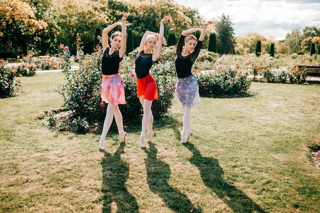 Drie jonge mooie ballerina's in panty's en kleurrijke rokken poseren met gratie in zomer park.
