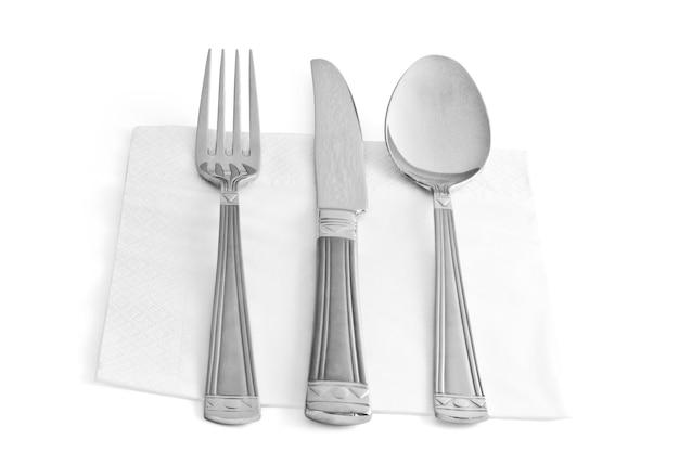 Drie keukengerei vork mes en lepel