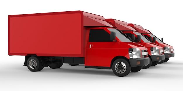 Drie kleine rode vrachtwagen