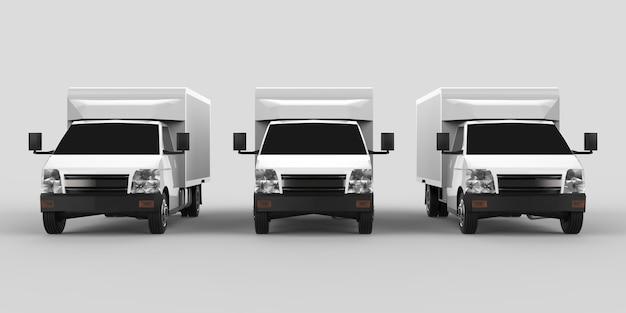 Drie kleine witte vrachtwagen