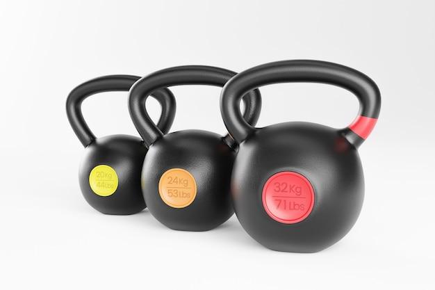 Drie kleurrijke kettlebells. 3d illustratie