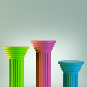 Drie kleurrijke kolommen op grijs