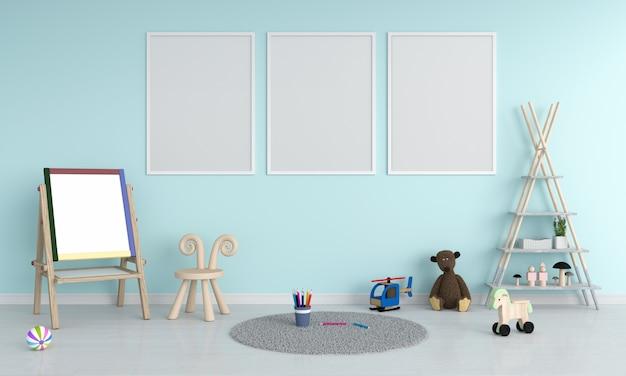 Drie lege fotolijst voor mockup in de kinderkamer