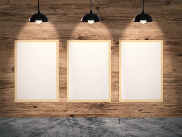 Drie lege frames hangen met houten muur