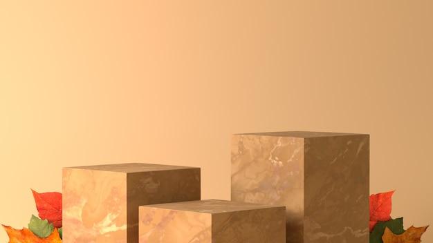 Drie marmeren box podium met esdoorn bladeren in herfst thema achtergrond