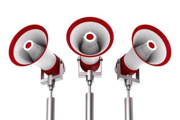 Drie megafoons op witte ruimte. geïsoleerde 3d-afbeelding
