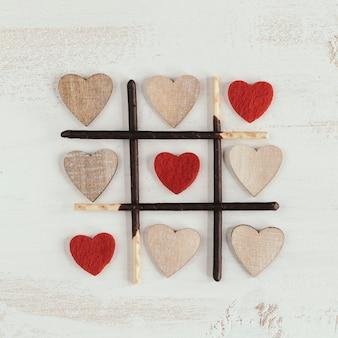 Drie op een rij met verschillende harten