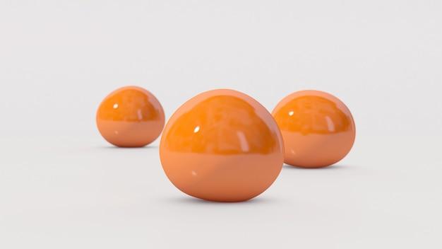 Drie oranje zachte ballen vallen en springen. witte achtergrond. abstracte illustratie,